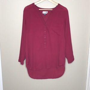 OLD NAVY Split Neck Tunic Cotton Poppy Pink Size M
